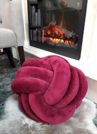 Декоративная подушка-мяч, цвет марсала, 45 см