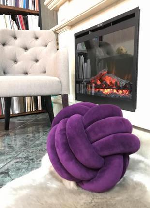 Декоративная подушка-мяч, цвет фиолетовый, 45 см