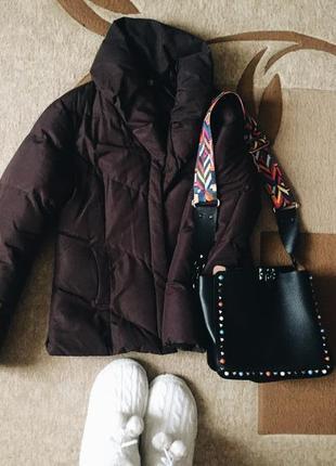 Классная ,теплая короткая куртка одеялко шоколадного цвета next р.38/10
