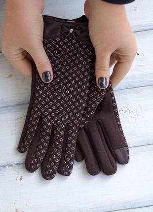Женские стрейчевые перчатки - сенсорные.