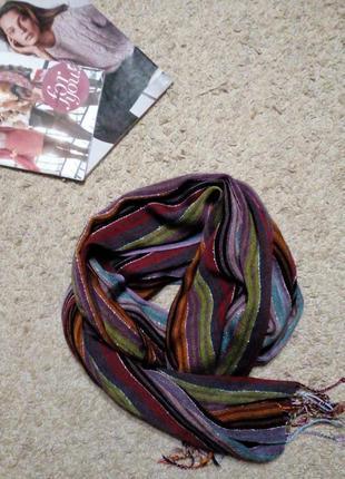 Accessorize широкий шарф/ палантин, разноцветная полоска
