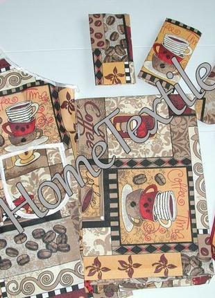 Скатерть, фартук, прихватка, рукавичка и 2 полотенца. кухонный набор лён. кофе