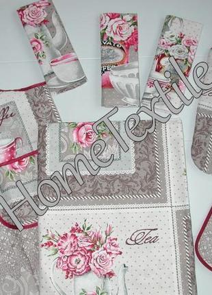 180 дизайнерский набор прованс, лён. скатерть, фартук, прихватка, рукавичка и 3 полотенца.
