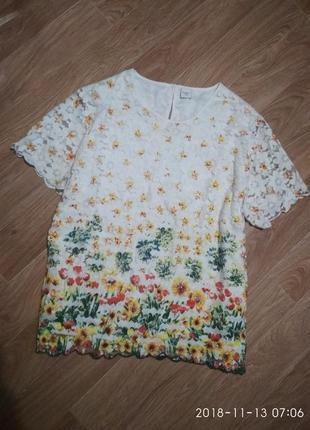 Кружевная блуза футболка