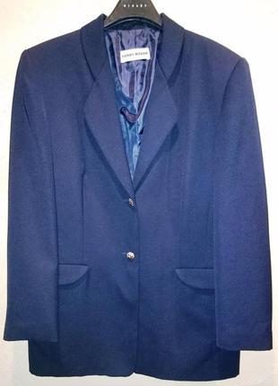 Стильный синий пиджак в рубчик жакет блейзер gerry weber 2xl 16