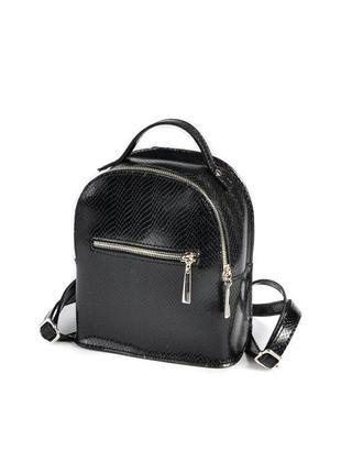 Маленький мини рюкзак черный женский молодежный городской из кожзама