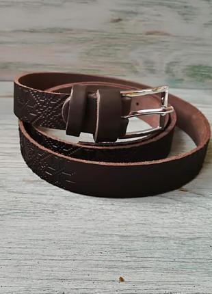 Кожаный ремень темно-коричневая вышиванка полосами
