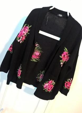 Акция!!! -50% на вторую вещь !!!  черный кардиган оверсайз с розами