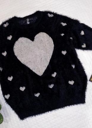 Шикарный теплый свитер травка в сердечках размер 22-24( 52-56)