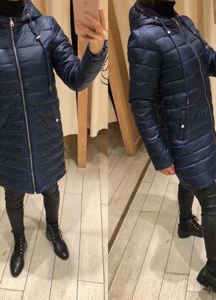 Синее деми пальто с капюшоном house тёплая куртка на синтепоне есть размеры