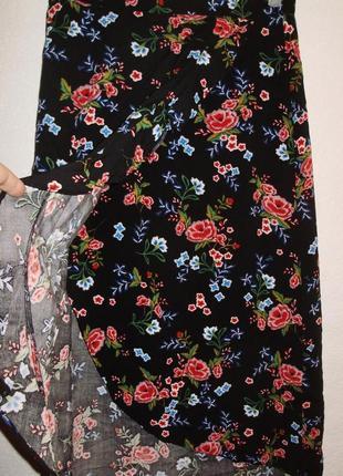 Красивая юбка миди с запахом/цветочный принт/l/12/46 размера peacocks