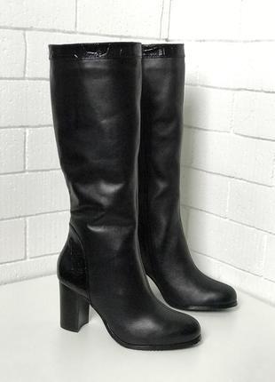 Сапоги, сапожки из натуральной черной кожи, высокие, высокий каблук, зимние, зима, 36-40
