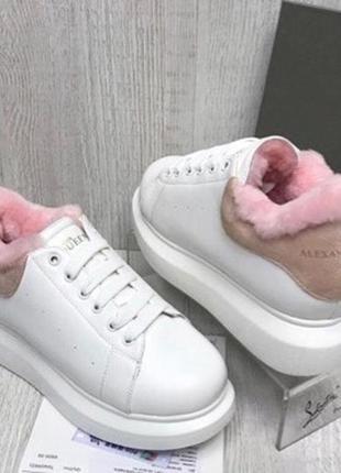 Люкс кожаные зимние кроссовки с розовой пяткой маквин на массивной подошве. 35-40. наложка