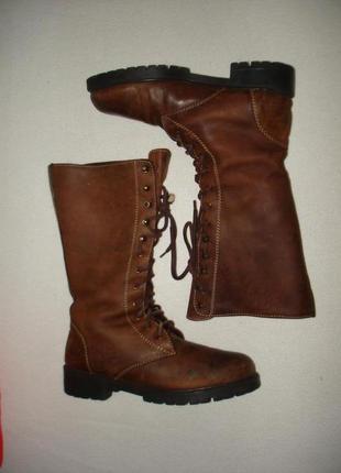 Зимние утепленные кожаные сапоги бренд la redoute
