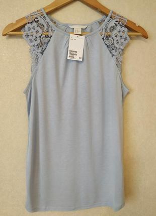 Стильная нарядная нежная майка/футболка с кружевом3 фото