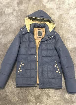 Мужская тёплая синяя куртка пуховик