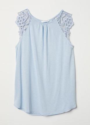 Стильная нарядная нежная майка/футболка с кружевом