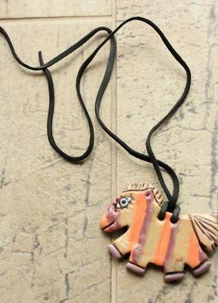 Кулон c лошадью, керамика