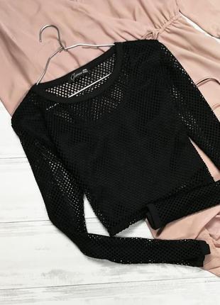 Черный кроп топ из сетки в184539 glamour babe размер uk12 (m)