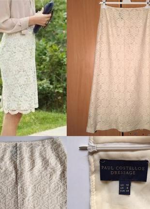 Стильная кружевная шерстяная английская юбка миди paul costelloe dressage