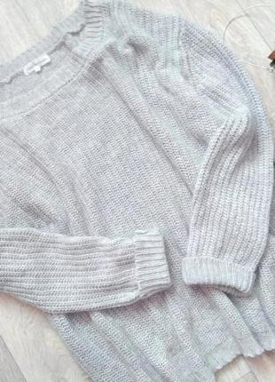 Удлиненный базовый оверсайз свитер крупной вязки, серый, шерсть,ангора