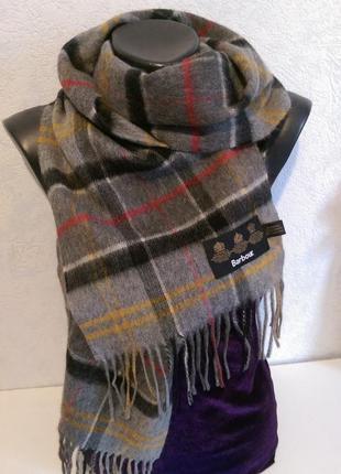 Шерсть мениноса и кашемир,дизайнерский шарф,тартан ,barbour,оригинал,188*27