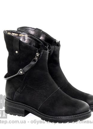 Акция 1+1=3 стильные зимние натуральные ботинки кожа нубук 36-41