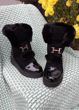 Ботинки женские натуральная замша,кожа зима