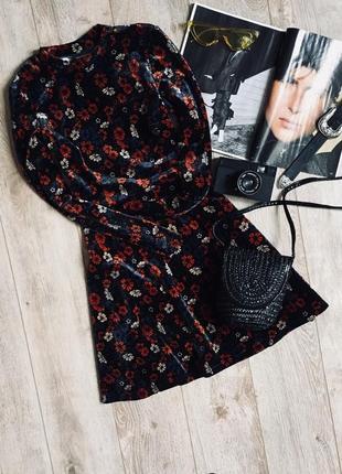 Вілюрове платтячко в квітковий принт від topshop💔