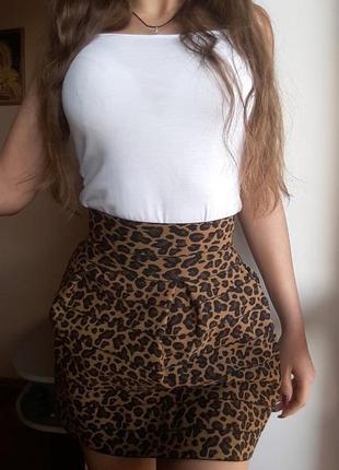 Юбка в леопардовой расцветке, xxs, 250 грн