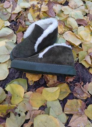 Зимние ботинки,  слипоны, натуральная замша