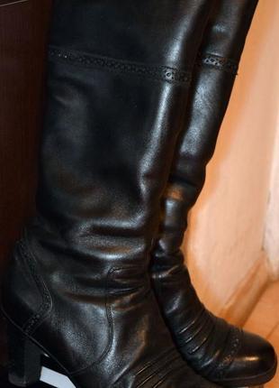 Зимние кожаные сапоги на каблуке braska