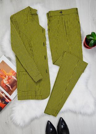 Винтажная супер стильный итальянский оригинальный жёлтый костюм в клетку тройка