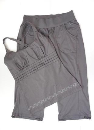 Комплект костюм спортивный для йоги фитнес майка бриджи