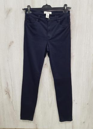 Темно синие зауженные стречйевые штаны h&m 40.m-l3 фото