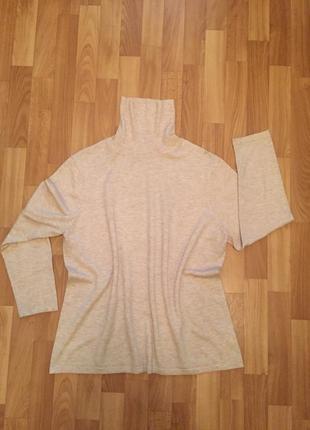 Гольф свитер тёплый бежевый меланж