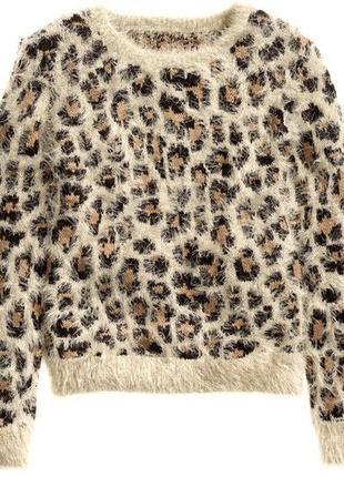 Джемпер/свитер в леопардовый/анималистический принт/оверсайз/свободный m//l h&m