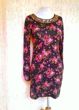 Теплое пушистенькое яркое платье -туника, s.