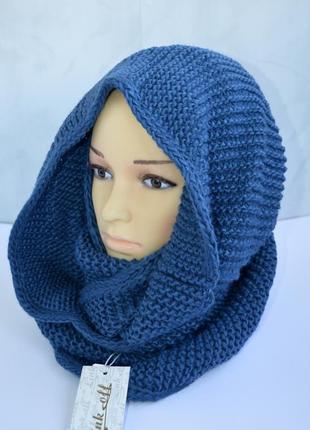 Вязаный зимний снуд женский шарф синего цвета