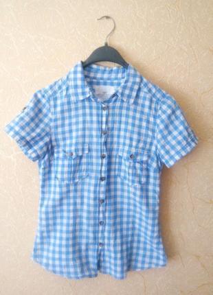 Котоновая рубашка в клетку размер с