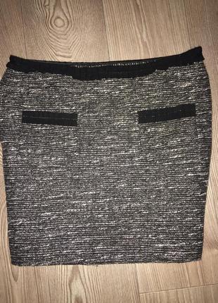 Твидовая юбка твид люрекс
