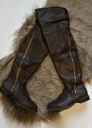 Актуальные высокие сапоги ботфорты шоколадного цвета justfab