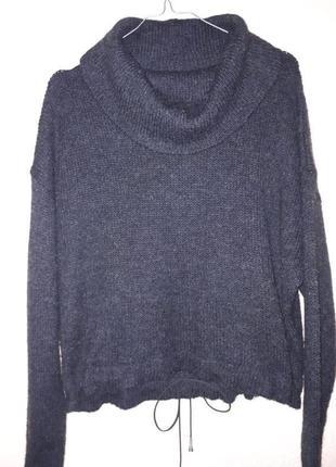 Оверсайз шерстяной свитер альпака с замшевый шнурком внизу хомут гольф джемпер кофта