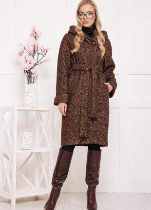 Деми длинное довге теплое тепле шерстяное пальто с капюшоном норма батал р.xs-3xl цвета