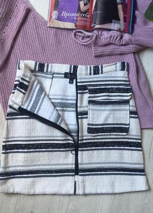 Стильная юбка трапеция твид на замочке