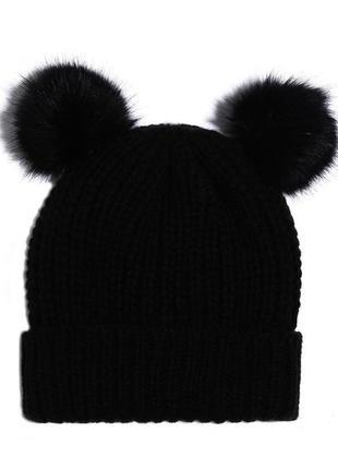 Черная шапка tally weijl с отворотом и помпонами-ушками