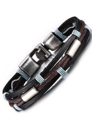 Мужской браслет кожаный с веревочным плетением