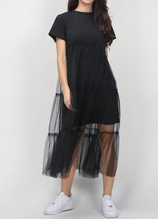 Платье футболка с евро сеткой