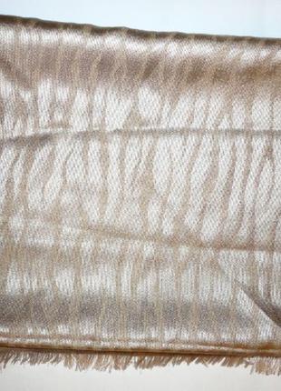 Золотистый платок шаль палантин 100% шелк (203см х 72см)