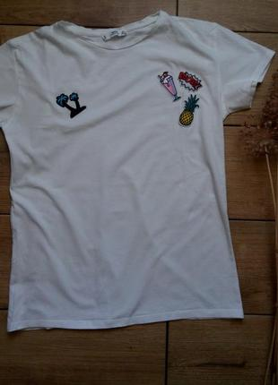 Стильная футболка,белая футболка с нашивками,хлопковая белая футболка mango